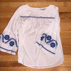 Never worn! Loft lightweight embroidered blouse